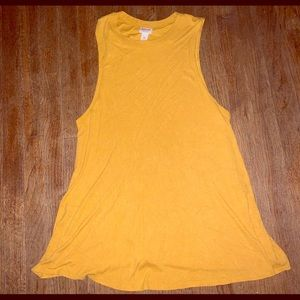 Cute, ribbed mustard colored sleeveless top!